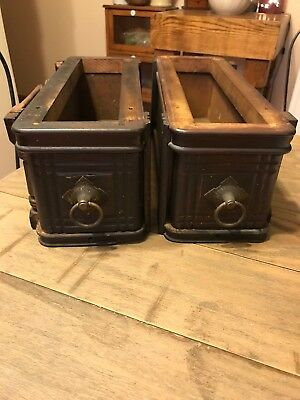 Pair Of Antique Singer Treadle Sewing Machine Drawers With Pulls And Side Frame