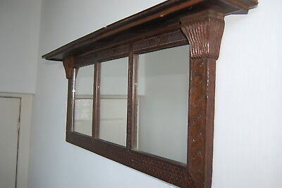 Antique Chip Carved Triptych Wall Mirror - Folk Art - Over Mantle