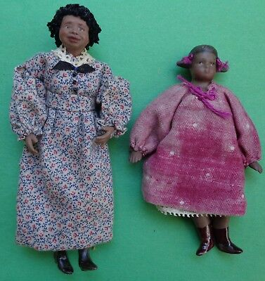 Black Mother and Child Dollhouse Dolls Artist Made Estate