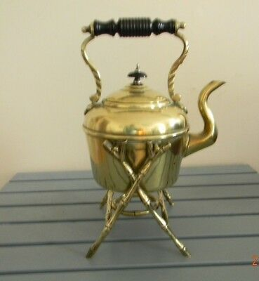 Antique William Souter Brass Spirit Kettle and Stand 1870's