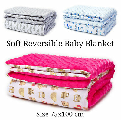 Deluxe Large Soft Minky Baby Blanket Reversible Sleep Car Seat Pram Cot New