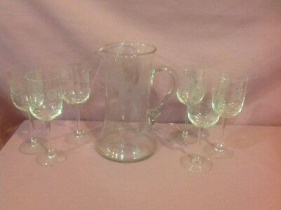 Antique Clear & Etched Glass Lemonade Set With Pitcher & 6  Matching Glasses  K