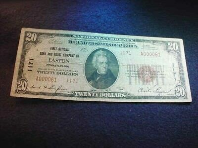 1929 $20 First Nat'l Bank And Trust Co Of Easton Pa National Note!! #5