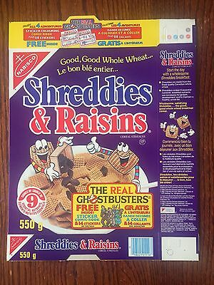 The Real Ghostbusters FLAT ORIGINAL Nabisco Shreddies 1980's Cereal Box RARE