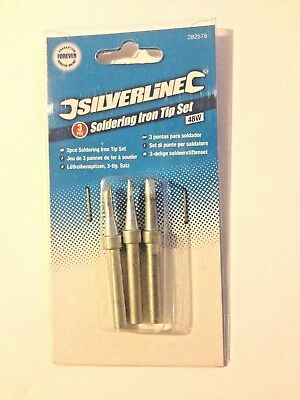 Soldering Iron Tip Set 3pc 48w  Silverline 282578