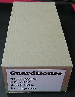 """GUARDHOUSE BRAND GLASSINE ENVELOPE SIZE #2. BOX OF 1000 COUNT. 2 5/16"""" x 3 5/8"""""""