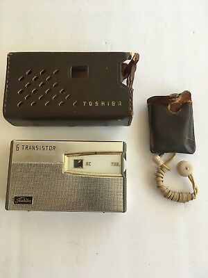 Vintage Toshiba Transistor Radio 6TP-385 With Case And Earphone Not Tested