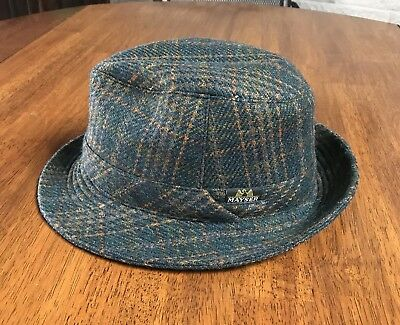4cb288793bd HARRIS TWEED WOOL Mans Fedora Hat Small Medium 56 - 58 cm Plaid ...
