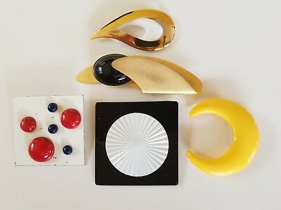 Vintage Brooch Pin Lot of 5 Metal Plastic Celluloid Unmarked Abstract Eclectic