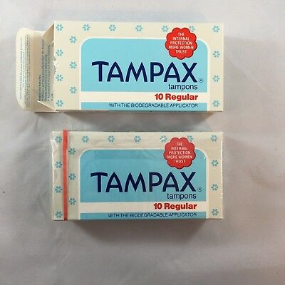 2 Vintage 1970s Tampax Tampons 10 Regular Package USA Movie Prop Advertising