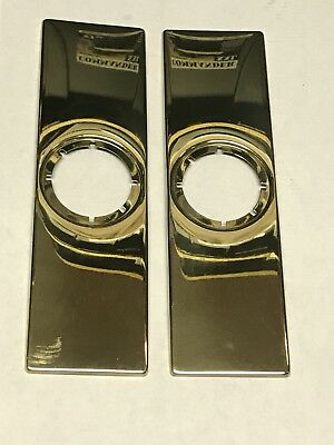 Pair Of Solid Brass Gold Colored Door Plates