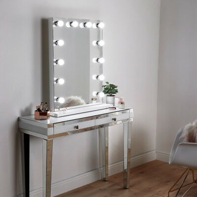 Large Hollywood Style Dressing Room Table Makeup Mirror With Bulb Dimmer Lights