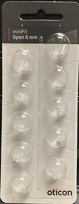1 Pack Oticon miniFit 6mm Open Domes For Hearing Aids. 10 Domes Total.