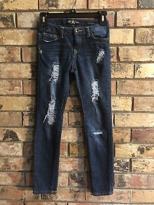 Lucky Brand Zoe Jegging Girls Blue Distressed Adjustable Waist Jeans Sz 10