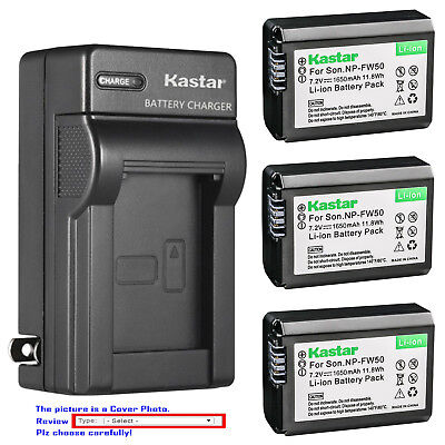 Kastar Battery AC Wall Charger for Genuine Sony NP-FW50 Original BC-VW1 BC-TRW