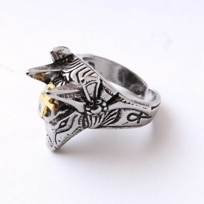 Ancient Egypt Religion The God Of The Dead Anubis Jackal Head Ring Cross Amulet