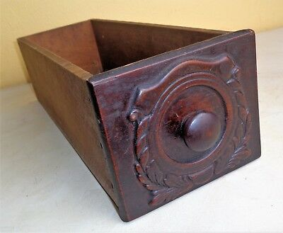 """Antique Small Draw Cabinet Sewing Machine Crate Wood Box 12 1/4 x 4 1/4 x 3 1/2"""""""