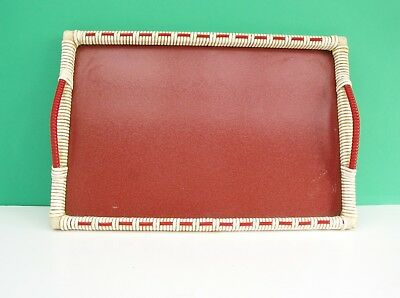 Vintage Handled Serving Tray Plastic Formica & Wicker Rectangular Red White 50s
