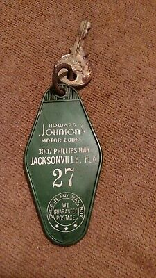 Vintage Howard Johnson's Motor Lodge Room Key, Jacksonville Fla.  # 27 key & tag