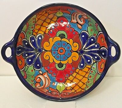 """Mexican Talavera Pottery Bowl Large Round Serving Handle Dish 12.5"""" Kitchen"""
