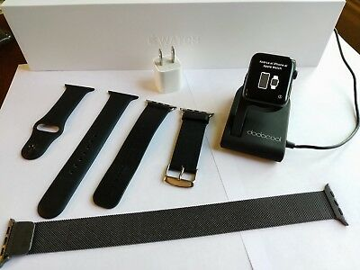 Apple Watch Series 2 42mm Space Black, 3 Band Bundle Plus Charging Stand L@@K!!