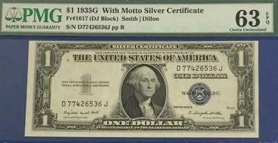 1935G $1 PMG Choice Uncirculated 63 EPQ SILVER Certificate w/Motto! Scarce!