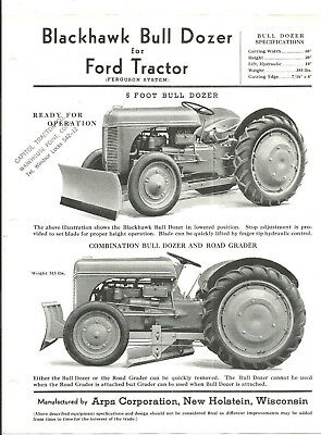 1940s ORIGINAL FORD TRACTOR BLACKHAWK SNOW PLOW ARPS CO NEW HOLSTEIN WI LEAFLET