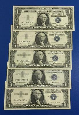 1957-1957B $1 Blue Choice VF SILVER Certificates set of 5! Old US Currency