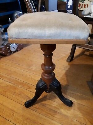 Antique Swivel Adjustable Organ Piano Stool Metal Paw Feet