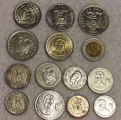 set of 14 different coins from Ecuador