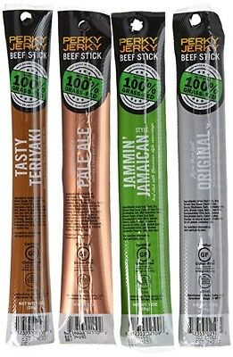Perky Jerky - 100% Grass Fed Beef Sticks Variety Pack 16 Count