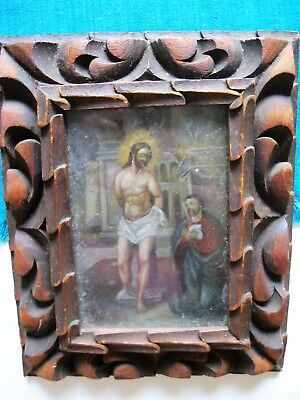 Antique Retablo On Tin Jesus At The Column With An Apostle By His Side Framed