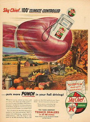 1948 vintage AD TEXACO Sky Chief Gasoline Boxing Glove great image ! 050415
