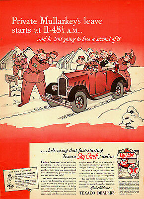 1941 vintage Ad,  TEXACO Sky Chief Gasoline  Cartoon Gluyas Williams  -080814