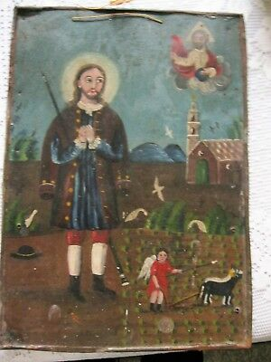 Original Antique Retablo On Tin San Ysidro Patron Saint Of Farmers Alll Original