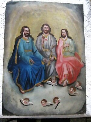 Original Antique Retablo On Tin The Holy Trinity Alll Original Excellent Conditi
