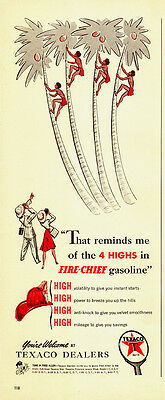 1951 vintage Ad, TEXACO FIRE CHIEF GASOLINE Art Cartoon Coconut Palm  -080814
