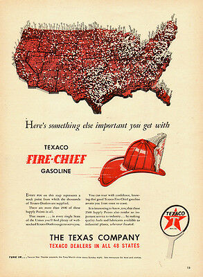 1955 vintage AD, TEXACO FIRE CHIEF GASOLINE, the Texas Co. Fire Helmet -080814