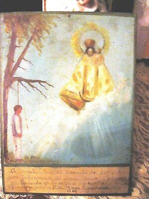 Original Vintage 1936 Exvoto/ On Tin , Man Thanks Our Lady For Not Beeing Hung