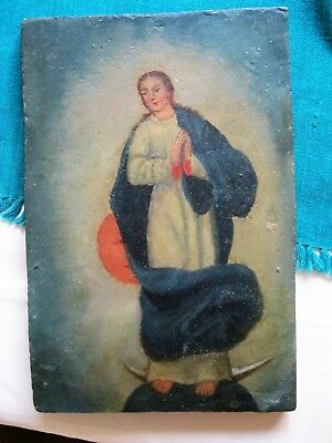 Original Antique Retablo On Wood The Imaculate Conception Great Condition