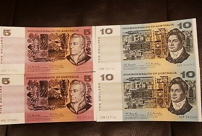 1967 Coombs & Randell Commonwealth of Australia $5 & $10 Consecutive Banknotes.