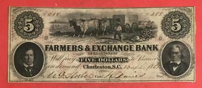 "1861 $5 US LARGE SIZE ""South Carolina ""CHARLESTON"" Currency Old Currency"