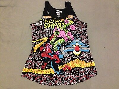 Marvel Comics Tank Top XL Spiderman Green Goblin Black used cotton polyester