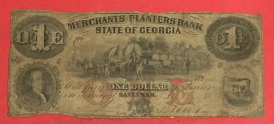 "1850s US Merchant Planters Bank of Georgia $1 LARGE SIZE Currency ""HORSEBLANKET"""