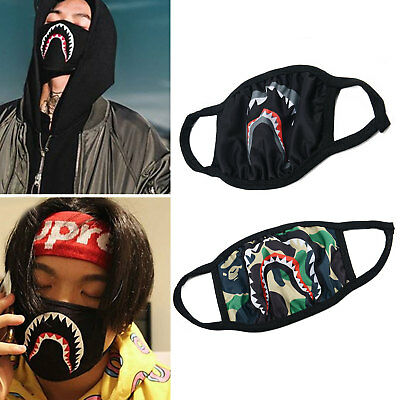 Bape Mens Womens Mouth Face Mask Anti-Dust Muffle Camo Shark Mouth Anti Fog