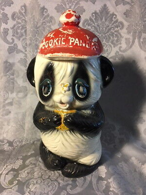 COOKIE PANDA BEAR COOKIE JAR VINTAGE 1950-60's TEXTURED CERAMIC POTTERY JAPAN