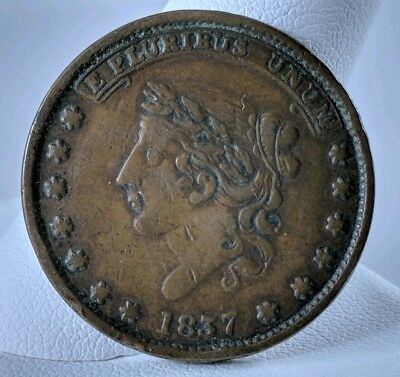 1837 Hard Times Token Patriotic Not One Cent For Tribute Style of US Large Cent