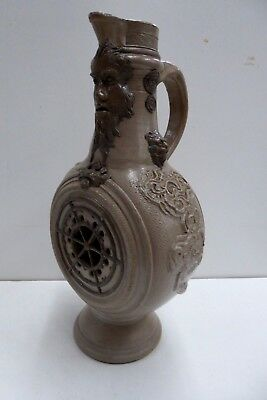 Rare Antique Bellarmine Salt Glaze Pottery Jug Incised Faces Lion Rabbit