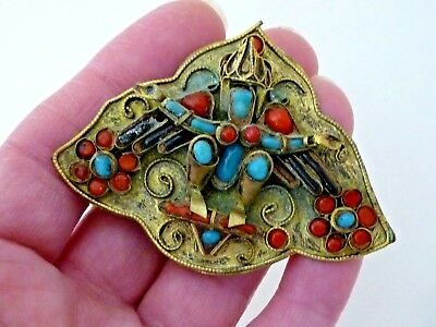 Vintage Estate Antique Tibetan Nepalese Chinese Asian Coral Turquoise Brooch Pin