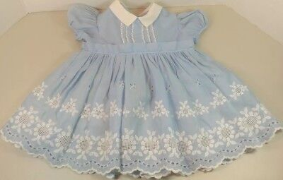 Vintage frilly blue nylon baby dress with white lace  - 1950s-60s 6-12 months